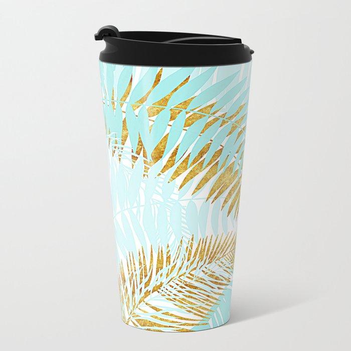 Aloha- Tropical Palm Leaves and Gold Metal Foil Leaf Garden Metal Travel Mug