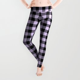 Chalky Pale Lilac Pastel and Black Buffalo Check Leggings