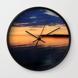 Sunset by the Lake Wall Clock