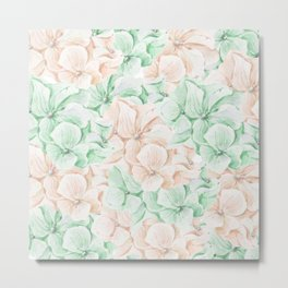 Pastel green coral hand painted watercolor elegant floral Metal Print