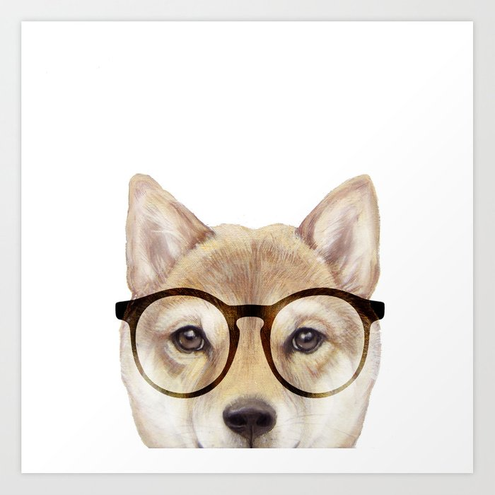 Shiba inu with glasses Dog illustration original painting print Art Print
