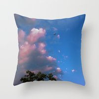 airplanes Throw Pillows featuring There, Airplanes by Alisha Greenlaw