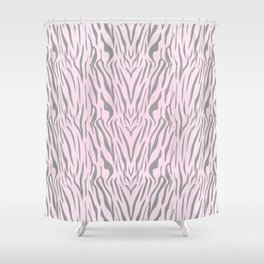 Hipster blush pink gray abstract zebra animal print Shower Curtain