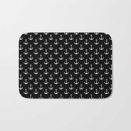 Black and white anchor pattern Bath Mat
