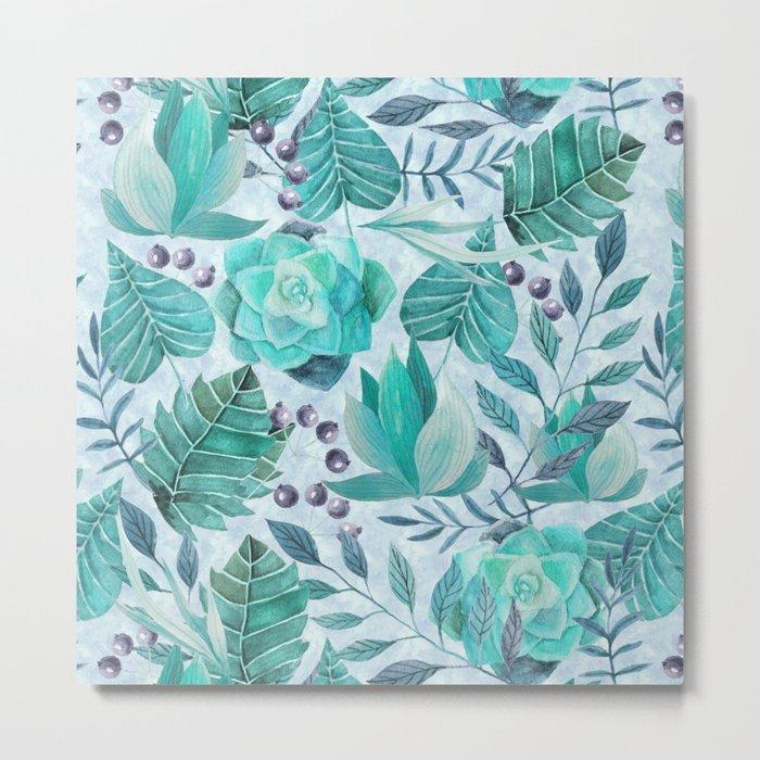 Green greenery watercolor tropical leaf pattern Metal Print
