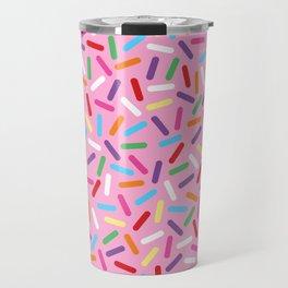 Pink Donut with Sprinkles Travel Mug