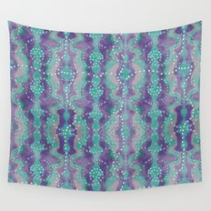 Teal and Purple boho pearls Wall Tapestry