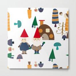 Gnome white Metal Print