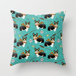 Corgi tricolored witch wizard magic dog breed gifts Throw Pillow