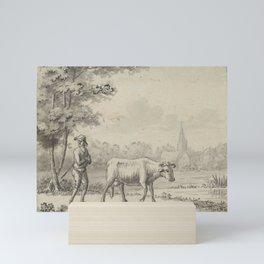 Pieter de Goeje - Landschap met twee koeien en een schaap Mini Art Print