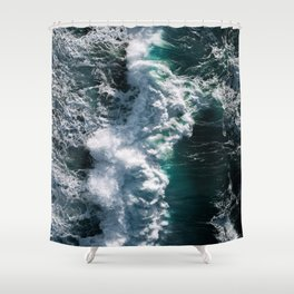 Crashing ocean waves - Ireland's seascapes at sunset Shower Curtain