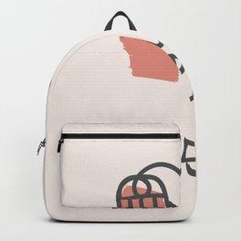 Abstract Minimal Face 05 - Modern Boho Line Art Drawing Illustration Shapes Backpack