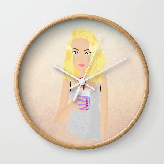 Milk shake girl Wall Clock