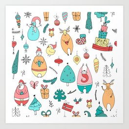 Cute Colorful Cartoon Christmas Animals Pattern Art Print