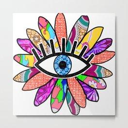 Greek Evil Eye Baby Pink Flower Metal Print