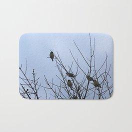 Winter Birds on Bare Branches Bath Mat