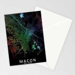 Macon, GA, USA, City, Map, Rainbow, Map, Art, Print Stationery Cards