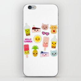 Hello Summer. Pineapple, cherry smoothie cup, ice cream, sun, cat, cake, hamster. Kawaii cute face. iPhone Skin