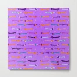 Colorful Dappled Doxie Print in Lavander Metal Print