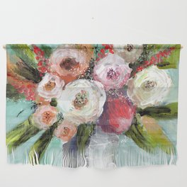 Peach and White Roses Wall Hanging