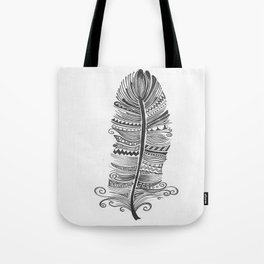 Black and White Feather Zen Tote Bag