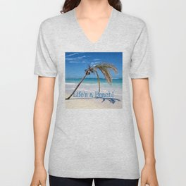 Landscape | Palm and Beach | Life's a Beach! | Nadia Bonello Unisex V-Neck
