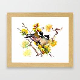 Birds in the Spring, Chickadee birds, birds adn flowers Framed Art Print