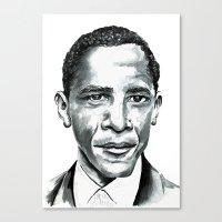 obama Canvas Prints featuring Obama by Bridget Davidson