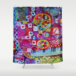 Red Queen's Player Piano Poker Game Shower Curtain