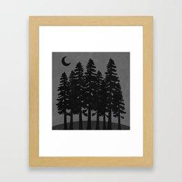 The Moon Over A Dark Dark Forest Framed Art Print