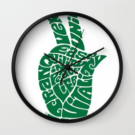 Life Force Hand in Bright Emerald Wall Clock
