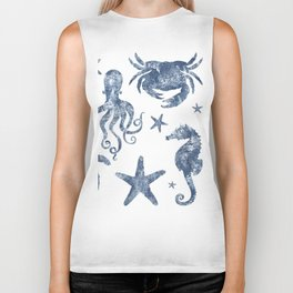Delft Blue nautical Marine Life pattern, coastal beach Biker Tank