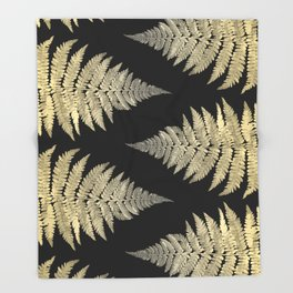 Golden Fern Art | Plant | Photography | Digital Art Throw Blanket