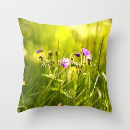 Beautiful meadow flowers - geranium on a sunny day - brilliant bright colors Throw Pillow