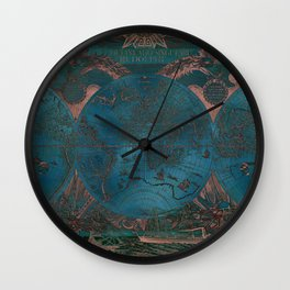 Rose gold and teal antique world map with sail ships Wall Clock