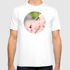 Bees on Flowers Mens Fitted Tee MEDIUM White