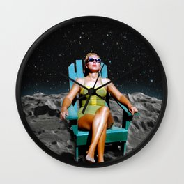 Tanning on the moon Wall Clock