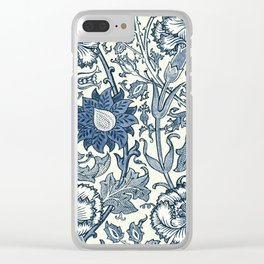 William Morris Navy Blue Botanical Pattern 5 Clear iPhone Case