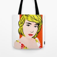 popart Tote Bags featuring popart  by Biansa Naiyananont