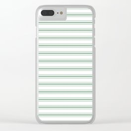 Mattress Ticking Wide Horizontal Striped Pattern in Moss Green and White Clear iPhone Case