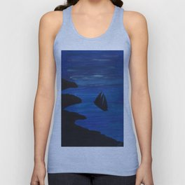 Vessel at sea at night painting Unisex Tank Top