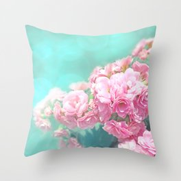 Pink rose photo dreamy bokeh photo Throw Pillow