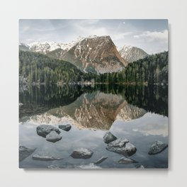 Mountain reflection in water   Landscape Photography Alps   Print Art Metal Print