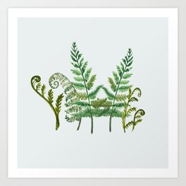 Fern Collage with Light Blue Gray Background Art Print