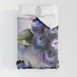Watercolor Blueberries - Food Art Comforters