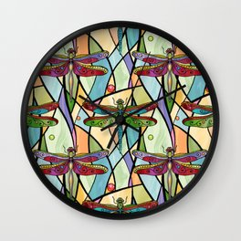 Dragonflies on Stained Glass Wall Clock