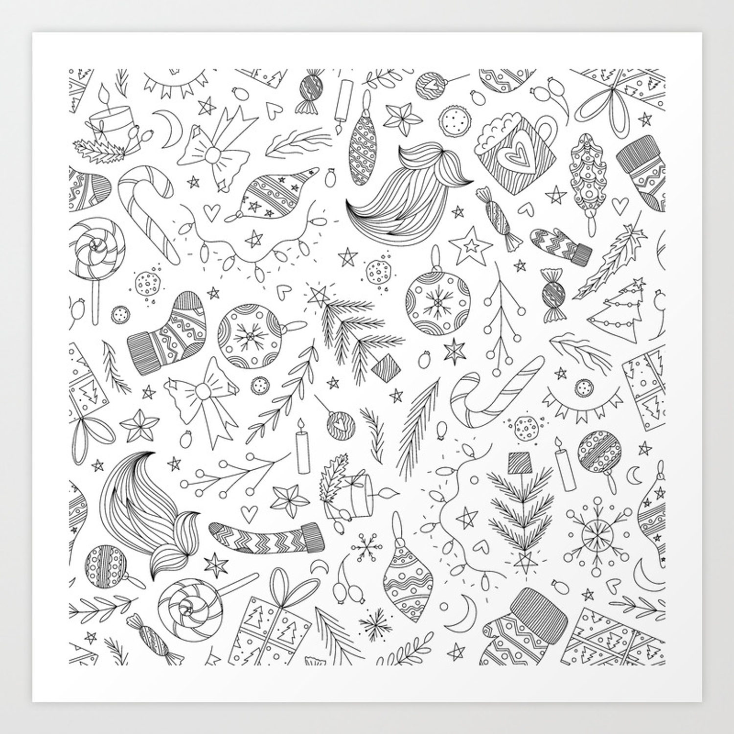 White Christmas Doodles Art Print by