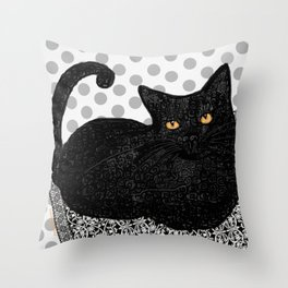 Artie CatDoodle Throw Pillow