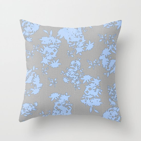 Pale Blue Floral Pattern on Medium Grey Burlap Texture Vector Art Throw Pillow by And_woman ...