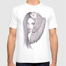 Alone With The Owl White Mens Fitted Tee MEDIUM